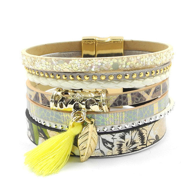 Leather bracelet yellow flowers women charm bracelets magnet buckle Friendship bracelet Bohemian bracelets&bangles