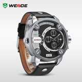 WEIDE New Quartz Watch Men's Sports Over size Military Leather Watches Men Luxury Brand 30 Meters Water Resistant