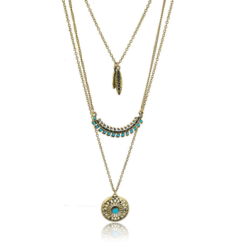 Long Bohemian Gold Beads Necklaces & Pendants for Women Boho Vintage Accessories Statement Turquoise Colar Ethnic Jewelry Green
