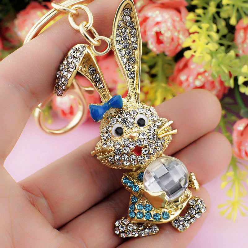 Lovely Bowknot Rabbit Crystal Rhinestone Bag Pendant Key chains Holder women Keyring Keychain For Car Fashion Jewelry