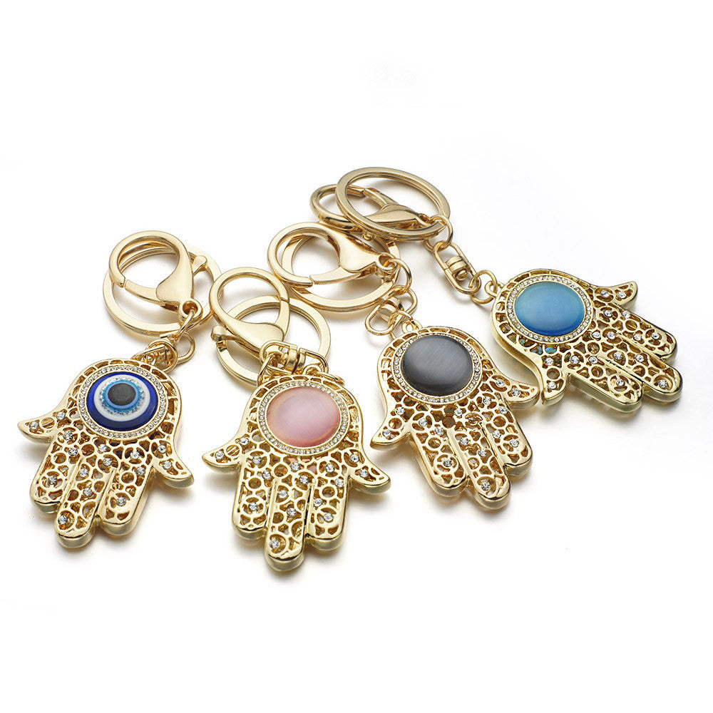 Lucky Charm Amulet Hamsa Fatima Hand Evil Eye Keychains Purse Bag Buckle Pendant For Car Keyrings key chains holder women