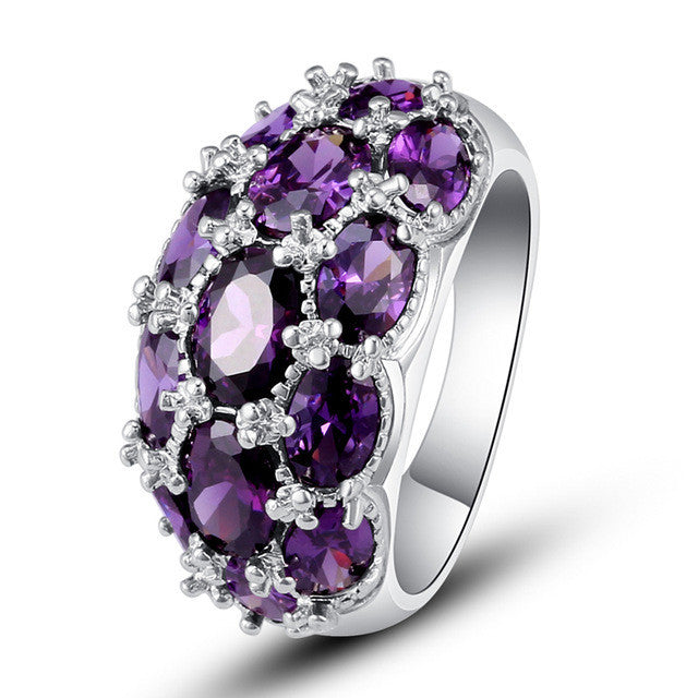 Luxuriant Bohemia Style Attractive Design Jewelry Oval Cut Purple Amethyst AAA Silver Ring