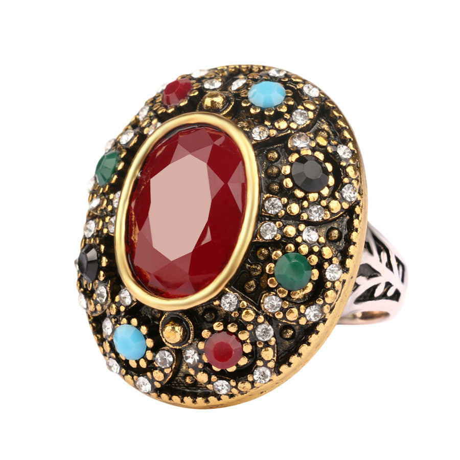 Luxurious Oval Big Turquoise Ring Turkey Jewelry Vintage Look Inlaid 7 Colour Resin Wedding Ring For Women