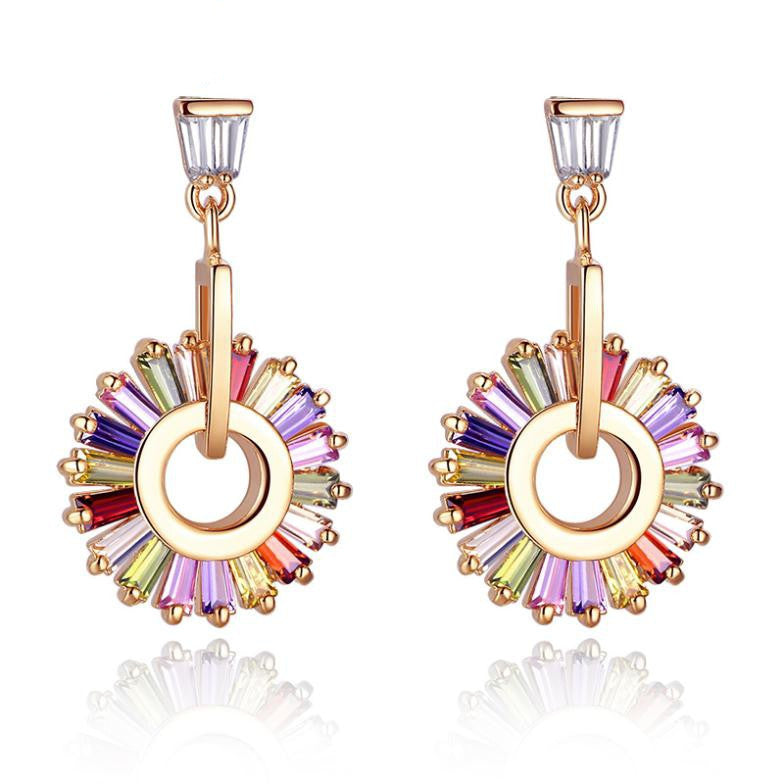 Luxury 18K Champagne Gold Plated Drop Earrings with Multicolor Zircon For Women Wedding Jewelry
