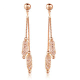 Luxury 18k Champagne Gold Plated Drop Earrings Wire Zircon Crystal Female Christmas Gift Jewelry