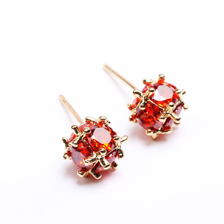 Luxury 18k Rose Gold Red Ball Stud Earrings with Zircon Crystal Women Engagement Jewelry
