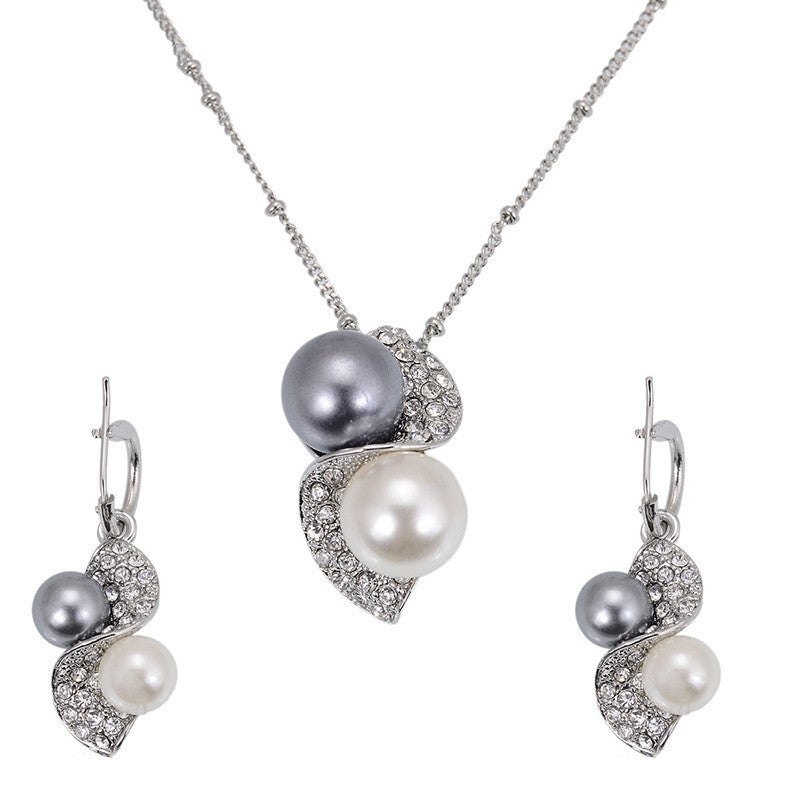 Luxury Brand Imitation Pearl Necklace Earrings Wedding Jewelry Sets Vintage Fashion Crystal Bridal Jewellery Set for Women Gift
