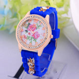 Luxury Flower Silicone Watches Women Diamond Rose Gold Quartz Watch Fashion Wristwatches Clocks Wrist Watches Fine Jewelry