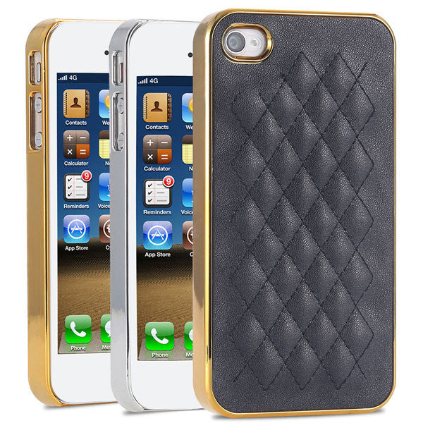 Luxury Gold PU Leather Case for iPhone 5 5S 5G / 4 4S 4G Sheep Grid Pattern Lattice Back Skin Cover For Phone