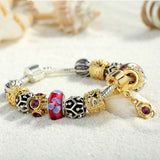 Luxury Silver Charm Bracelet for Women With Exquisite Red Murano Glass Beads DIY Birthday Gift