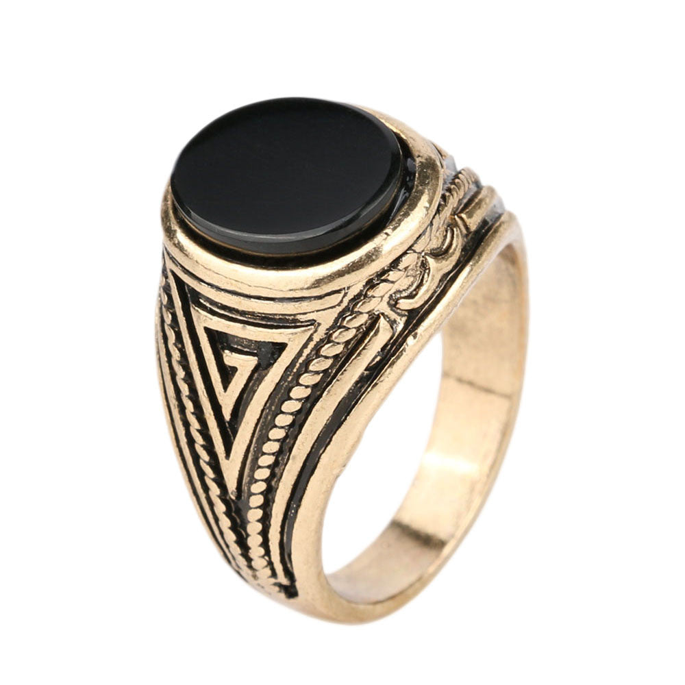Luxury Vintage Jewelry Black Ring 18k Gold Engagement Mens Rings Christmas Gifts