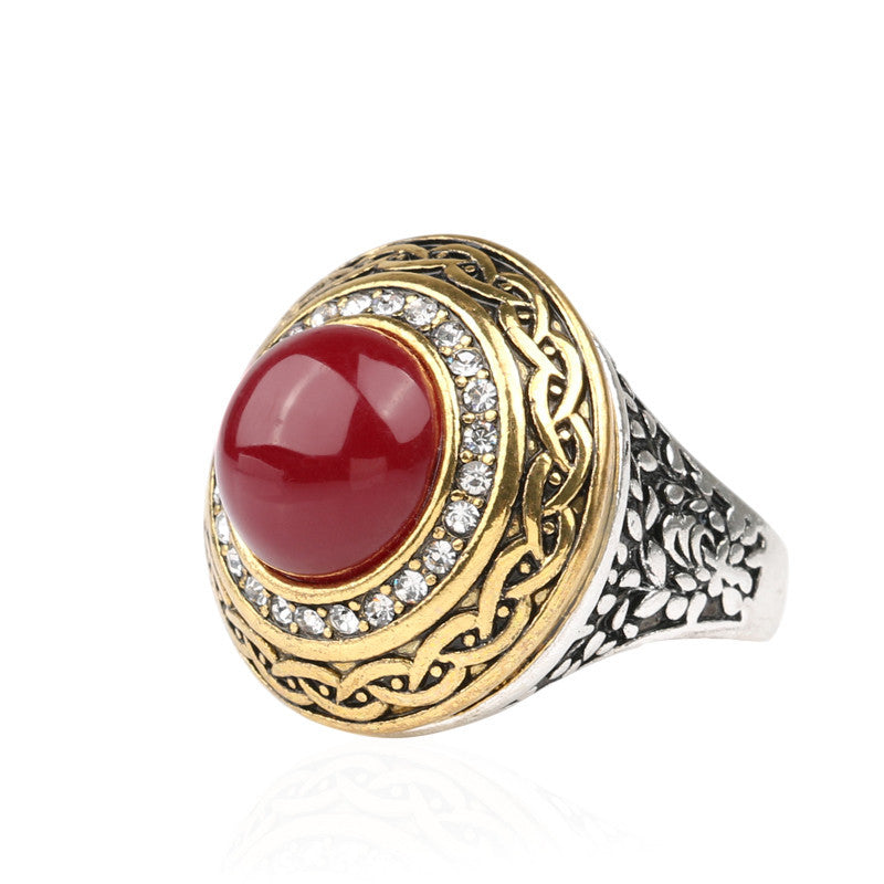 Luxury Vintage Wedding Ring Fashion Round Gold Band Inlay Resin And Crystal Ruby Indian Jewelry
