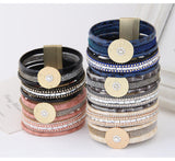 Luxury Boho Bamboo Leather Bracelets Bangles with Magnetic Buckle Wrap Jewelry Pulsera for Women brazaletes pulseras mujer