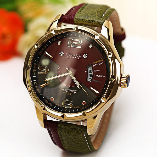 Luxury Brand Julius Fashion watch Men's Quartz Watch military Date Leather sports Watches Men Wristwatches relogio masculino