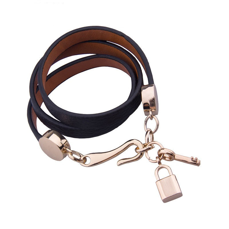Luxury Gold Plated Genuine Pink Leather Bracelet Three Circle Jewelry for Women