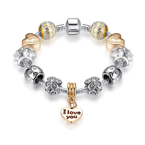 Luxury New Gold Charm Bracelets For Women Crystal DIY Beads Bracelets & Bangles Pulsera Gift Fashion Jewelry