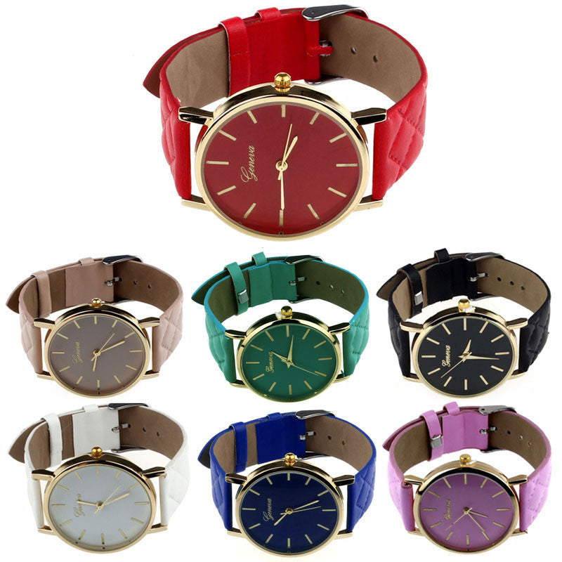 Luxury gold Geneva Women watch Geneva PU Leather Casual Quartz dress Watches Beige Reloj clock