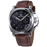 MEGIR Genuine Leather Luxury Men Watches Chronograph 6 Hands 24 Hours Function Men Top Brand Military Watch