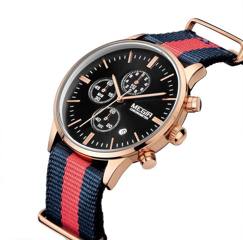 Top Brand MEGIR Mens Watches Luxury Men Leather nylon Strap Watches Chronograph Function Quartz Wristwatch