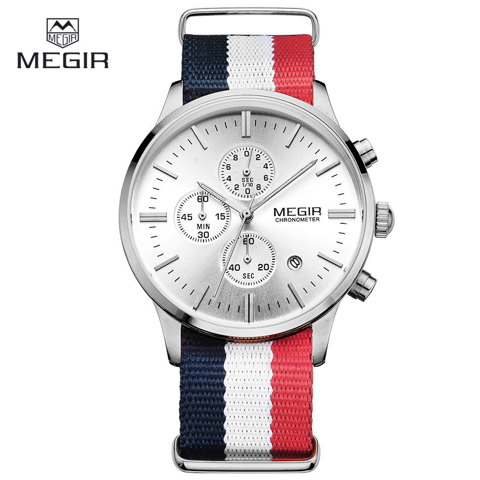 MEGIR Sports Watch Chronograph 24 Hours Men Fashion Casual Clock Blue Red Nylon Band Sport Watch Men Wristwatch