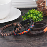 Multilayer Leather Bracelet Men Jewelry Boho Rock Wood Bead Bracelets For Women Love Vintage Bracelets & Bangles
