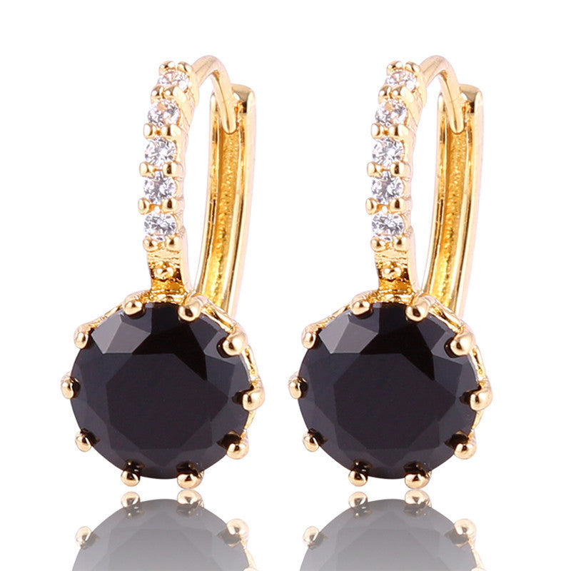 Brand New Earings Fashion Gold Plated Huggies Earring Women Black Zircon Crystal Hoop Earrings for Women