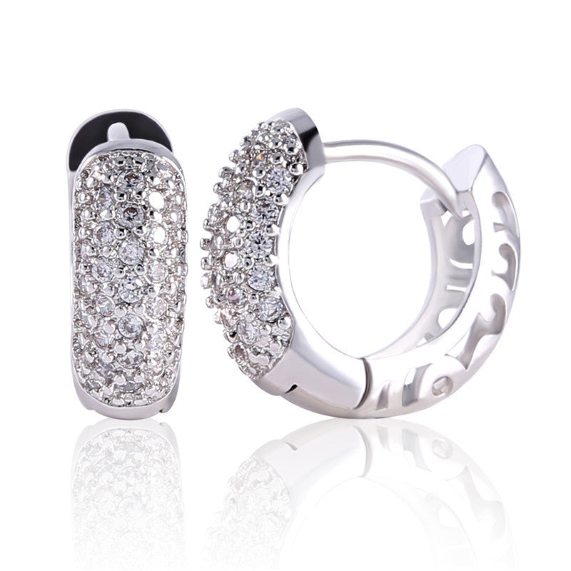 Charming Women Earings Fashion Round White Topaz Ladies Party Shinning Huggie Hoop Earing Hot Sale Brinco Earrings