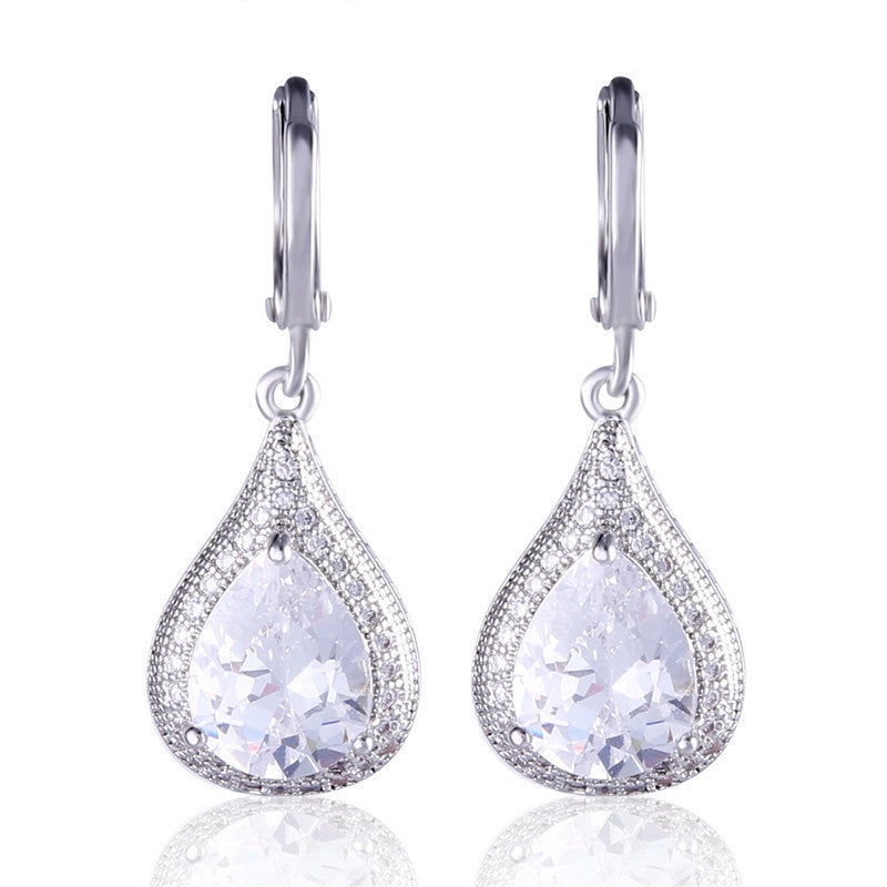 Creative Jewelry Earring for Women Silver Plating Drop Earrings Pear Crystal Fabulous Wedding Dangle Earing