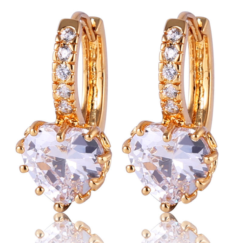 Korean Fashion Lady's Hoop Earings Gold Plated AAA Zirconia Crystal Huggie Earring for Women Accessories