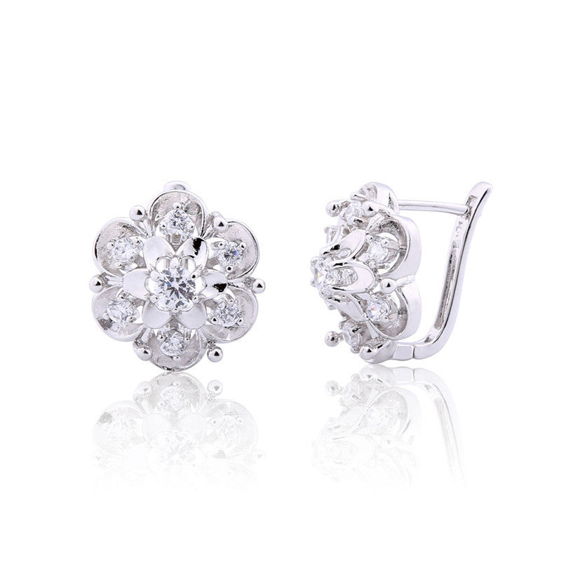 Newest Exquisite Flower Hoop Earing Fashion Jewelry AAA Zirconia Stones Earrings for Women Valentine's Day Gift
