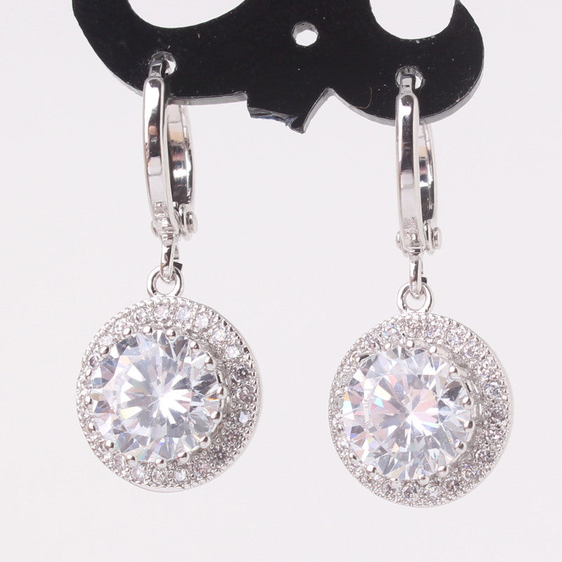 Wedding Luxury Earrings for Women Silver Plating Crystals CZ Zirconia Dangle Drop Long Earrings