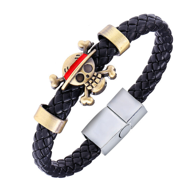 MOSU Hot Animation Luffy Alloy Bracelets One Piece Weave leather bracelet & Bangle cosplay jewelry