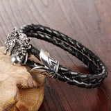FASHION Men Jewelry Black Leather Chain Braided Rope Stainless Steel Bracelet Dragon Design Man Vintage Accessories