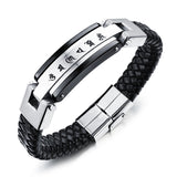 FASHION Men Punk Jewelry Black Leather Bracelet Stainless Steel Charm Bracelets Vintage Bangles Male Accessories