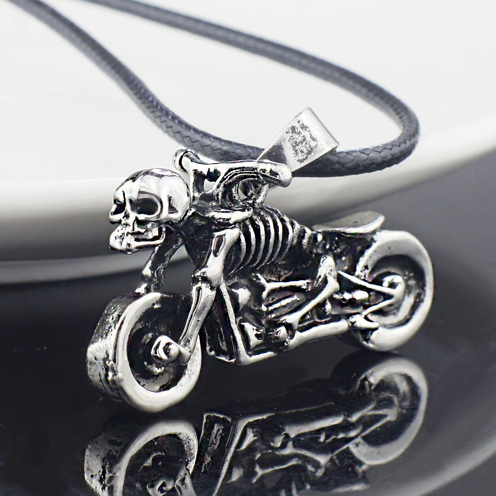 Male Gothic Punk Skeleton Motorcycle Titanium Stainless Steel leather chain Pendant Necklace