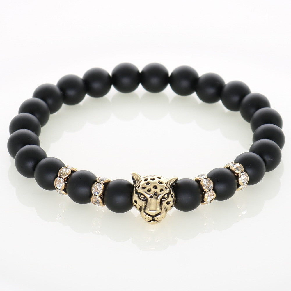 Men Bracelets Gold Plated Leopard Charm Bracelet Matte Onyx Natural Stones For Women Man Fashion Jewelry