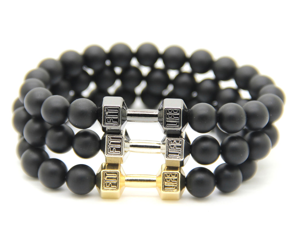 Men Gift New Arrival Alloy Metal Barbell & Black Matte Stone Beads Fashion Dumbbell Bracelets
