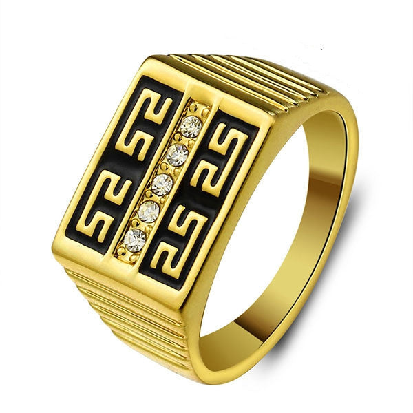 Men Jewelry 18K Gold Plated Ring Fashion Jewelry Rhinestone Allah Rings For Men