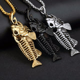 Men Jewelry Necklaces Fish Bone Design Stainless Steel Vintage Pendant Box Chain Necklace Black/Golden/White