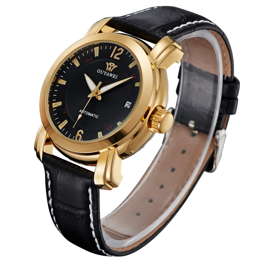 Men Mechanical Hand Wind Classic Simple Black Stainless Steel Case Luxury Date Clock Mens Wrist Watch,Leather Strap Men Watches