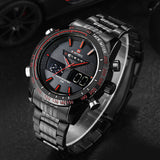 Cool Men Watches NAVIFORCE 9024 Luxury Brand Full Steel Quartz Clock Digital LED Watch Army Military Sport Watch