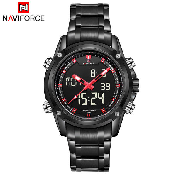 Men Watches NAVIFORCE Luxury Brand Full Steel Quartz Clock Digital LED Watch Army Military Sport Watch