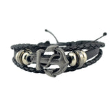Cuff Leather Bracelets Wrist Band Vintage Punk Rock Fashion Anchor Bracelet Alloy Beads Charm For Men And Women Jewelry