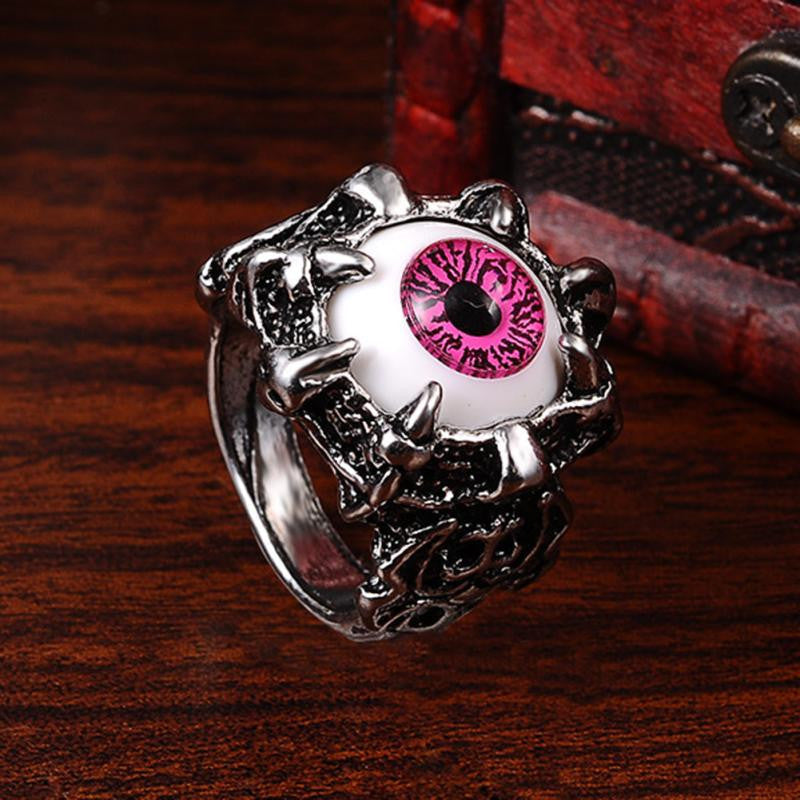 Men's Vintage Silver Dragon Claw Amber Evil Eye Skull Rings Stainless Steel Biker Ring Devil Eyeball Halloween Party Props