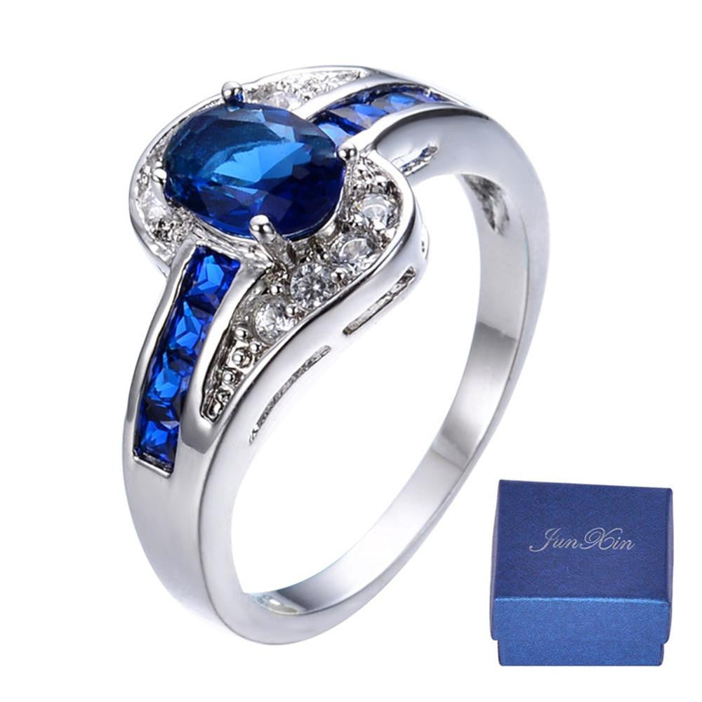 Men Women Blue Oval Ring Vintage White Gold Filled Jewelry Christmas Gifts