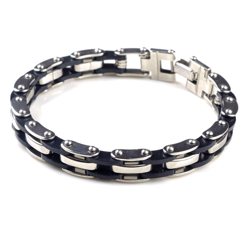 Men's Hot Silver Stainless Steel Bracelet Bangle Cuff Black Rubber Silicone Charm Jewelry For Men Gift