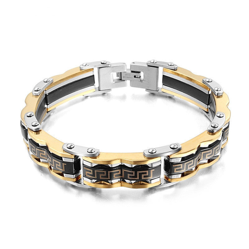 Men's bracelet fashion gold stainless steel bracelet for men Black plated bracelet fashion jewelry