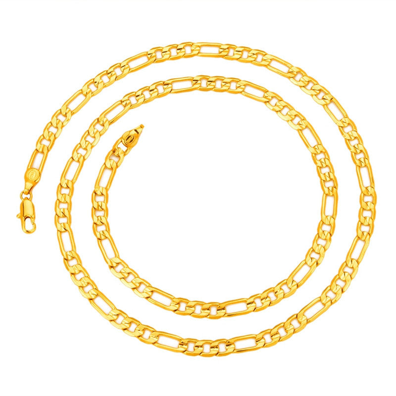 Mens 5mm*60cm 18K Real Gold Plated Italy Figaro Hip Hop Chain Necklace Jewelry