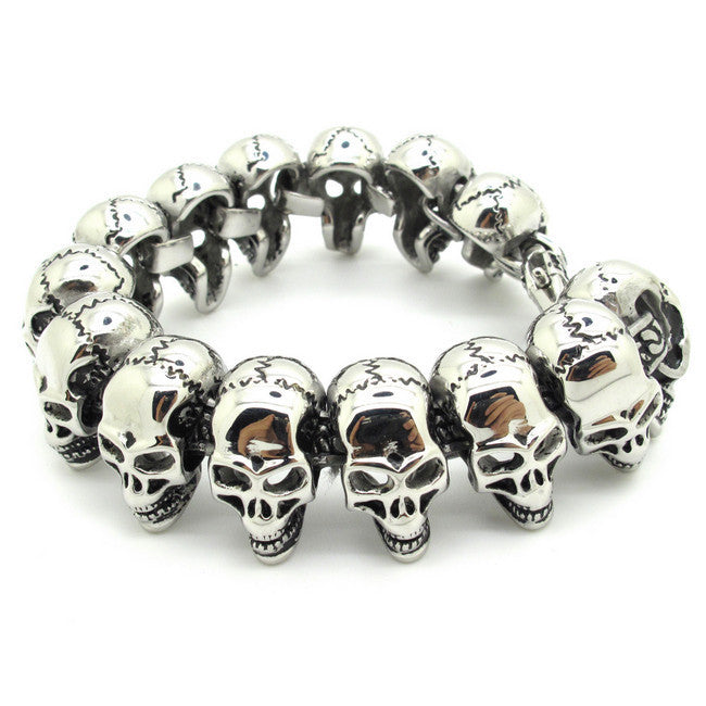 Mens Boys Lots silver Skull Links Chain Bracelet Stainless Steel PUNK Bangle Men's cool vintage Jewellery