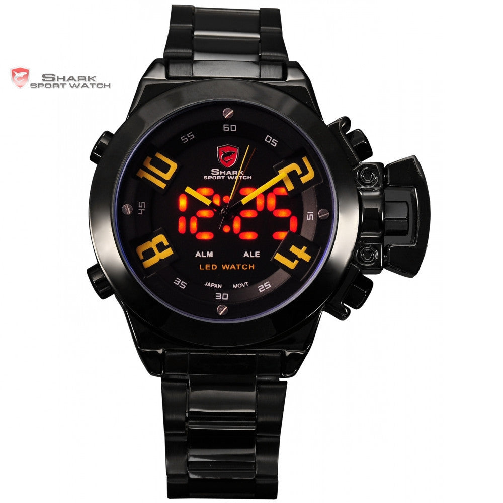 Military SHARK Sport Watch Digital LED Dual Time Date Alarm Yellow Number Black Steel Band Wrist Wrap Men's Watches Gift